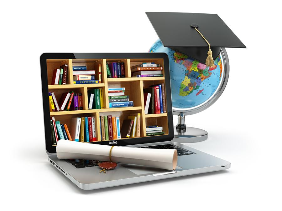 Online learning course diploma with laptop and globe