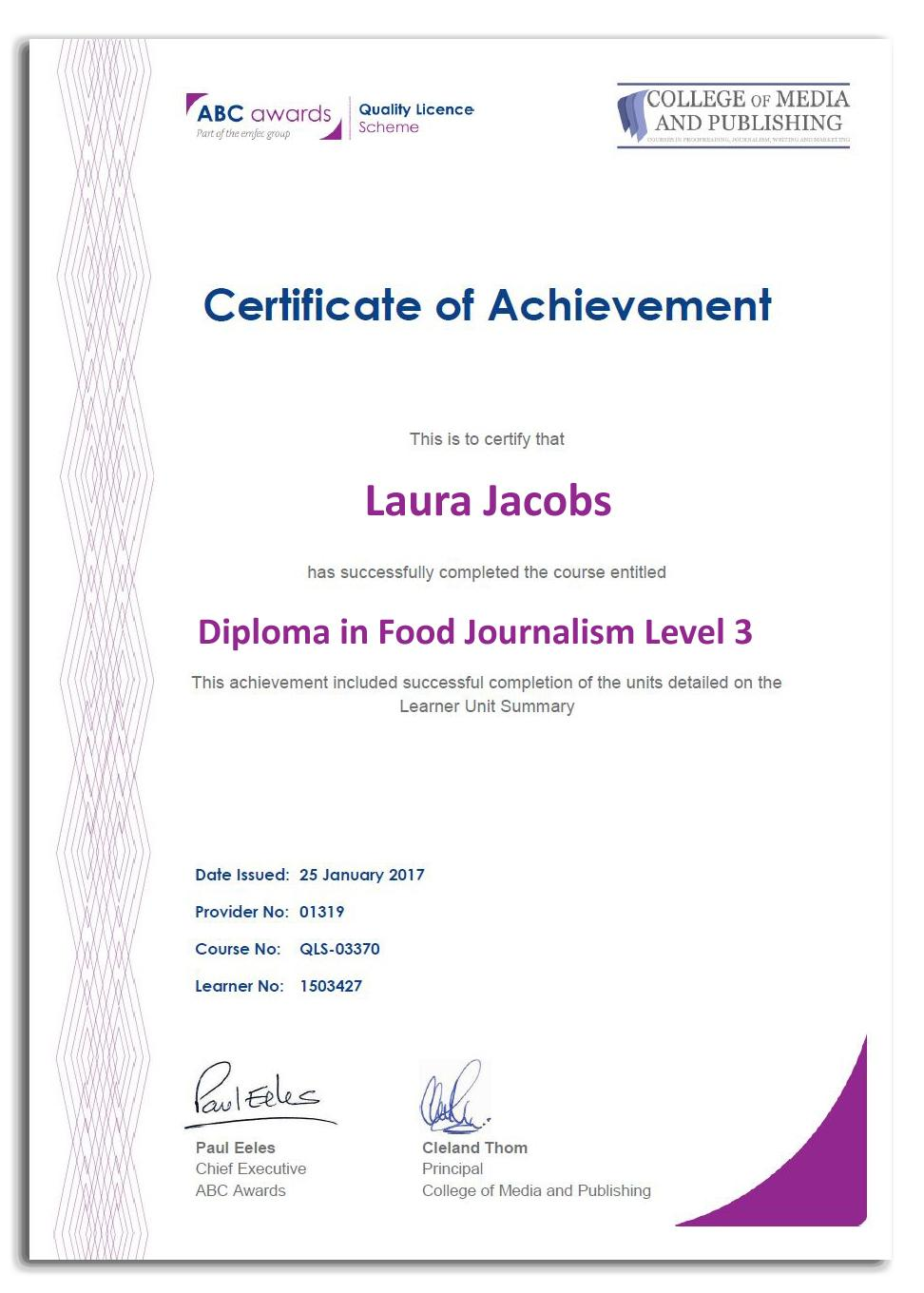 Food journalism course certificate