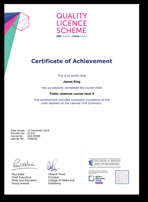 Public relations course certificate
