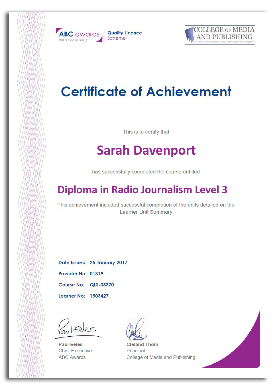 Radio journalism course certificate