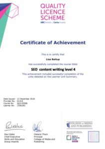 SEO content writing course diploma image