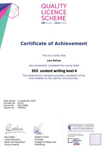 SEO content diploma