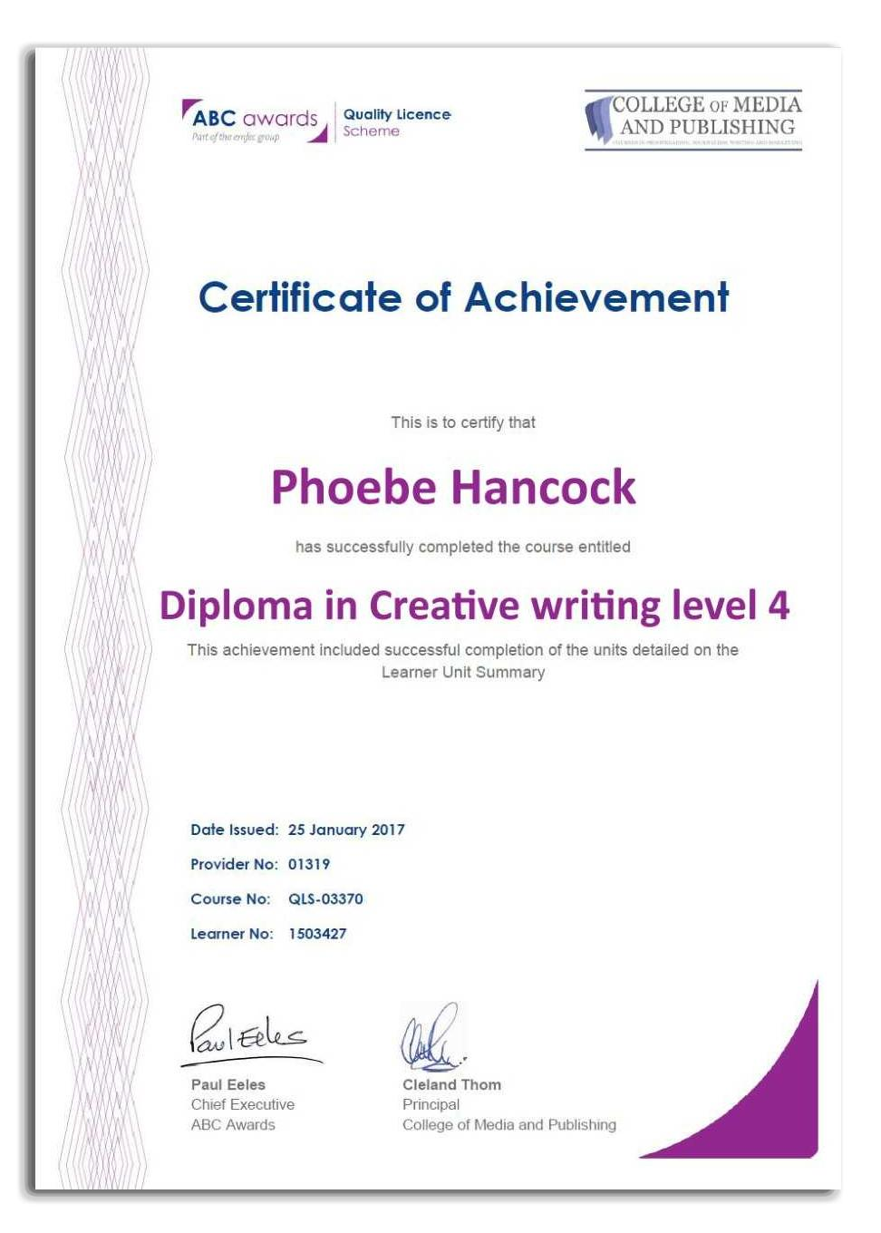 Creative writing course diploma