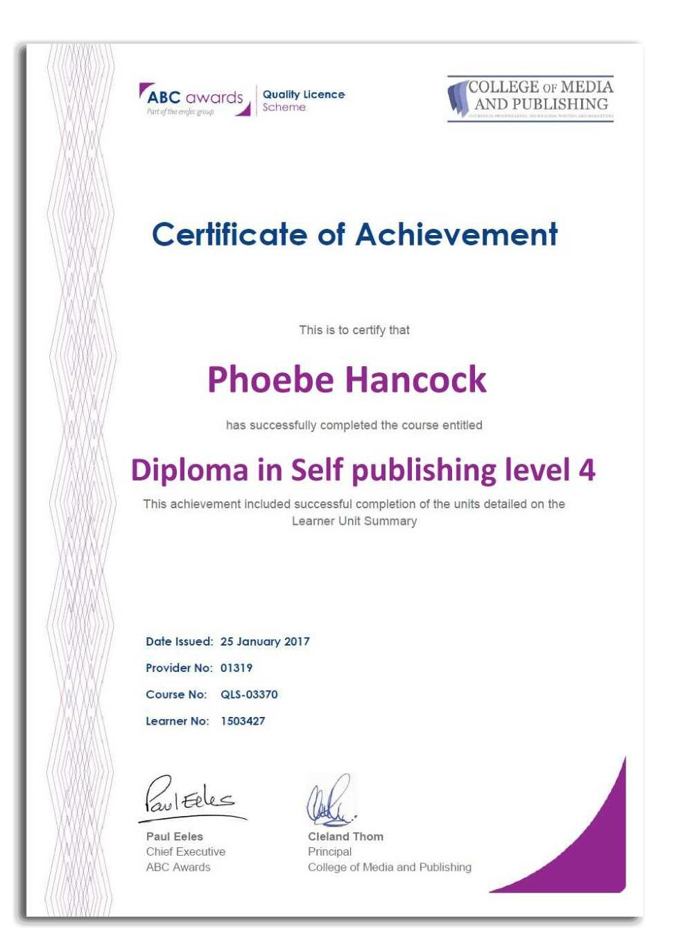 Self publishing course certificate