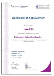 Subediting course certificate