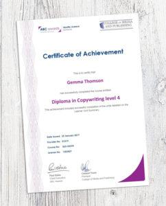 ABC certificate of Achievement